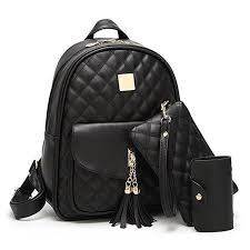 Quilted Faux Leather Backpack Wallet Set – slayboo & Quilted Faux Leather Backpack Wallet Set Adamdwight.com