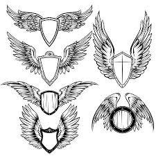 白い背景に分離されてオープン ポジションの別の図形の白黒の鳥の翼の