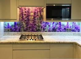 closeup lavender flower print glass splashback