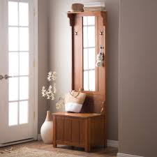 foyer furniture for storage. Brown Slim Storage Bench Hall Tree Indoor Home Living Entryway Furniture Mirror Foyer For