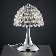 lighting enticing cut crystal table lamp with metal base and white bell shade small