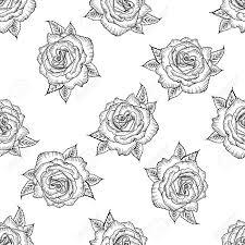 Naadloos Patroon Met Zwarte En Witte Roos Geïsoleerd Patroon Van