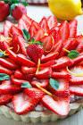 baked lemon   ricotta tart with strawberries