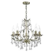 antique gold and distressed silver 5 light chandelier