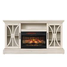duraflame 62 in w 5200 btu weathered white wood flat wall infrared quartz electric fireplace media mantel with thermostat and remote
