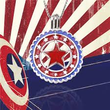 badge shape american flag 925 sterling silver cage pendant