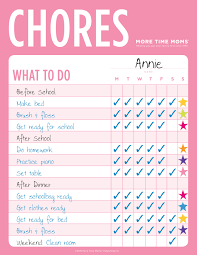 Family Chore Chart List Chore Charts More Time Moms