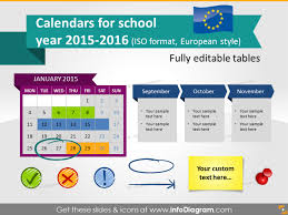 School Calendar 2015 2019 Template School Calendars 2015 2016 Graphics Eu Iso Dates Ppt Tables And