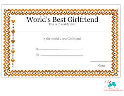 printable world s best girlfriend certificates love certificate printable for girlfriend hearts