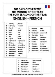 French Days Of The Week French Days Of The Week Months And Seasons