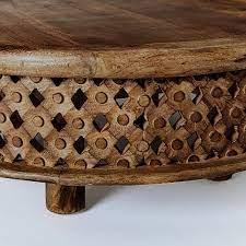 Nottingham lattice mango wood hand carved coffee table. Carved Wood Coffee Table