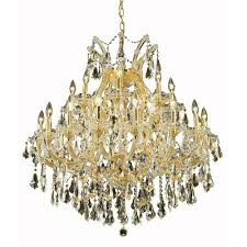 elegant lighting maria theresa gold twenty four light 36 inch chandelier with royal cut golden teak smoky crystal