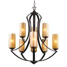 9 light antique bronze chandelier with bronze glass shades