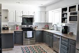White painted kitchen cabinets before and after Wood Grey And White Painted Kitchen Reveal House For Five Featured On Remodelaholic Vintage Chic Painting Remodelaholic Grey And White Kitchen Makeover