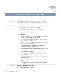 Resume Audio Visual Technician Sidemcicek Com
