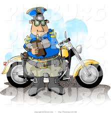 Clip Art Of A Motorcycle Cop Filling Out A Traffic Citationticket