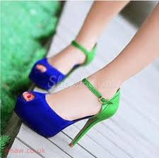 Fashionable Green & Blue Contrast Colour Suede High Heel Shoes #10887626 Contrast  color Suede Stiletto Heels 4-4.75inch Spring Autumn 1.00( kg )