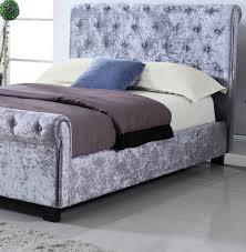 whitford side ottoman silver crushed velvet bed frame