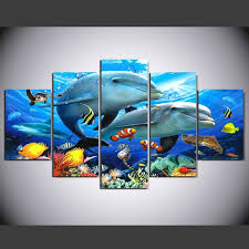 2017 unframed wall art canvas modern painting under the sea landscape printed pictures home decoration