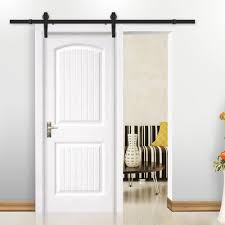 yaheetech 6 6 ft antique single black steel sliding barn wood door hardware kit track system set com