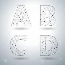 Templates Alphabet Letters Mesh Stylish Alphabet Letters Numbers A B C D Vector Illustration
