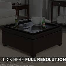 ... Coffee Table Storage Modern Wood 4 Tray Top Black Leather Ottoman Nice  Extraordinary Design Ideas Black