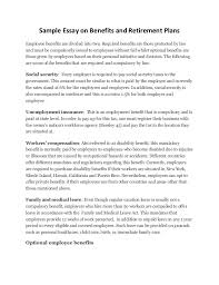 sample essay on benefits and retirement plans sample essay on benefits and retirement plans employee benefits are divided into two