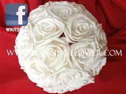 Crepe Paper Flower Balls Crepe Paper White Rose Flower Ball Wedding Bouquets Bfch 02