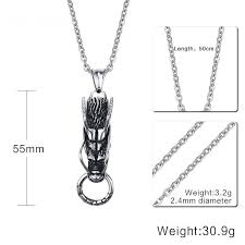 details about popular jewelry mens stainless steel dragon pendant punk cool necklace gift
