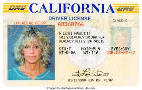 Driver's 2009 Farrah A Memorabilia 46026 Auctions Movie tv Fawcett Heritage License Lot