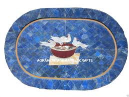 decorative marble tray pigeon oval mosaic lapis lazuli home decor gifts