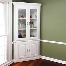 dining room hutch. A Corner Hutch Storage Idea With White Stain And Glass Door Dining Room O