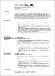 Summary On A Resume Example Best Of Free Professional Medical Sales Representative Resume Template