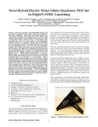 pdf novel hybrid electric motor glider quadrotor mav for in flight v stol launching