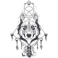 التوضيح النواقل من منظر أمامي من رأس الذئب كيه الهندسية Wolf