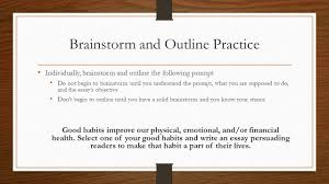brainstorming and outlining essays warm up take a few notes on  12 brainstorm