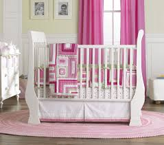 pink curtain combine with white changing pad overlooking with simple cradles plus blossom bedding