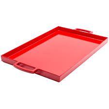 remarkable Zak Designs of pretty rectangle Serving Tray with 14 oz Tumblers  in red color with