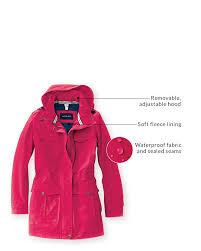removable adjule hood soft fleece lining waterproof fabric and sealed seams