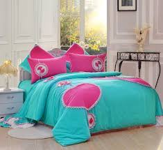 pink and blue comforter set girls lace ruffle frilly love pattern brushed bedding 3