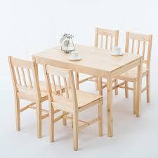 Modern 5 Piece Pine Wood Dining Set Rectangular Kitchen Dining Room
