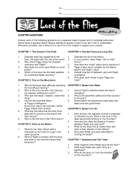 chapter questions lord of the flies lord of the flies  chapter questions lord of the flies