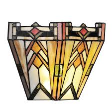 mission style stained glass wireless 9 light led flush mount