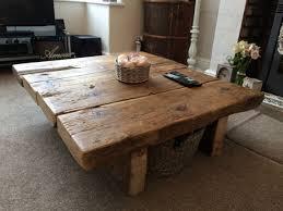 reclaimed pine coffee table rustic furniture railway sleeper oak shabby chic