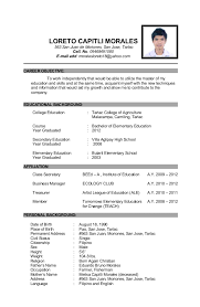 Personal Backgroun Epic Personal Background Sample Resume Best