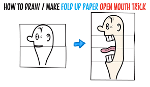 how to draw a big opening mouth paper folding trick perfect for cards easy today i ll show you a cool drawing