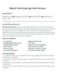 Digital Communications Resume Digital Communications Resume Marketing Specialist Digital