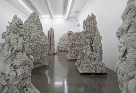 Artist Anish Kapoor concrete sculptures formed by densely textured layers  of poured cement at Gladstone Gallery