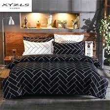geometric comforter black and white bedding set polyester duvet cover sets soft bed linen flat sheet geometric comforter set