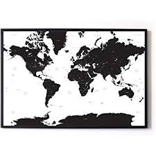 Large A1 White Black Map Of The World Travel Poster Amazon Co Uk